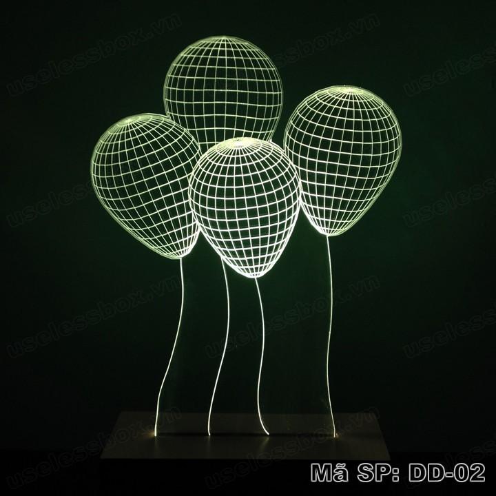 [Size lớn] Đèn ngủ 3D hình quả bóng bay - Acrylic cao cấp 5mm - Đế gỗ 16 màu có remote