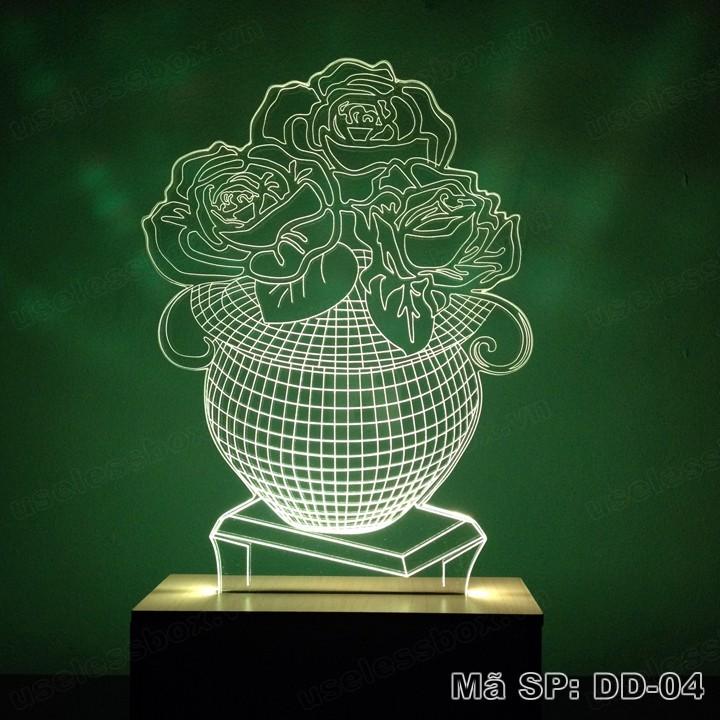 Đèn ngủ 3D hình hoa hồng