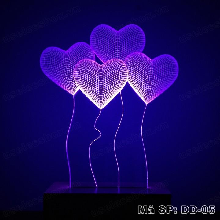 Đèn ngủ 3D hình quả bóng trái tim