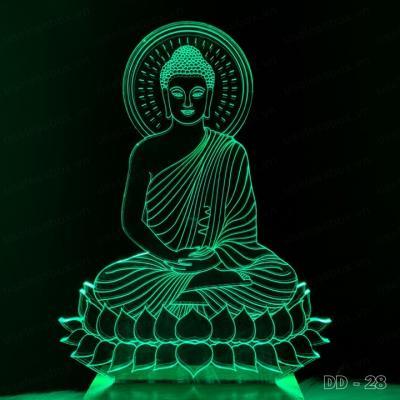 [Size lớn] Đèn led mica hình Phật Thích Ca - Acrylic cao cấp 5mm - Đế gỗ 16 màu có remote