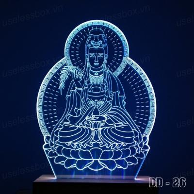 [Size lớn] Đèn led mica hình Quan Âm ngồi - Acrylic cao cấp 5mm - Đế gỗ 16 màu có remote