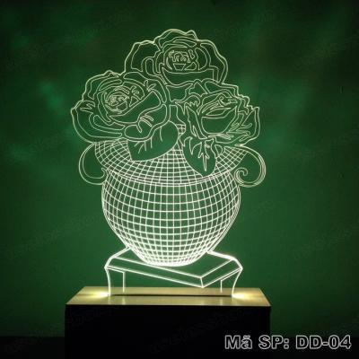 [Size lớn] Đèn ngủ 3D hình hoa hồng - Acrylic cao cấp 5mm - Đế gỗ 16 màu có remote