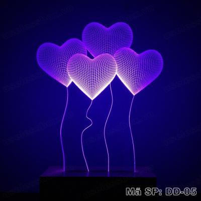 [Size lớn] Đèn ngủ 3D hình quả bóng trái tim - Acrylic cao cấp 5mm - Đế gỗ 16 màu có remote